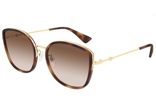Gucci GG0606SK 003 havana gold brown 56 Akiniai nuo saulės Moterims