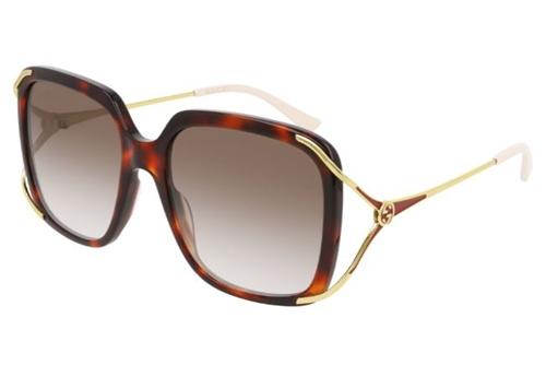 Gucci GG0647S 002 havana gold brown 56 Akiniai nuo saulės Moterims