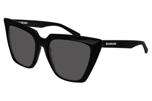 Balenciaga BB0046S 001 black black grey 55 Akiniai nuo saulės Moterims