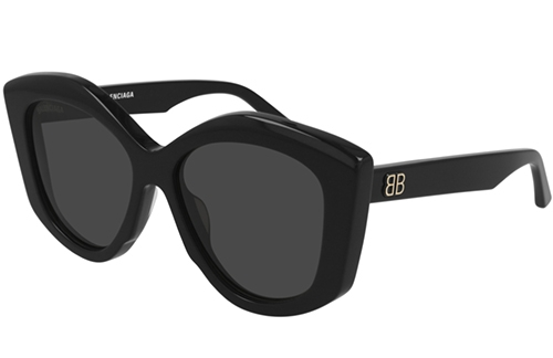Balenciaga BB0126S 001 black black grey 56 Akiniai nuo saulės Moterims